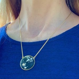Vince Camuto Moon Necklace Black Marble Pendant